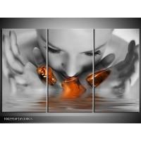 Glas schilderij Gezicht | Oranje, Grijs | 165x100cm 3Luik