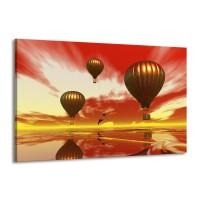 Glas schilderij Luchtballon | Geel, Goud, Rood | 140x90cm 1Luik