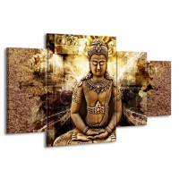 Canvas schilderij Boeddha | Bruin, Wit, Geel | 160x90cm 4Luik