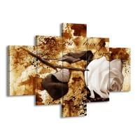 Glas schilderij Roos | Bruin, Wit | 100x70cm 5Luik
