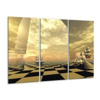 Canvas schilderij Abstract | Bruin, Wit | 120x80cm 3Luik
