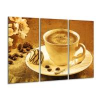 Canvas schilderij Koffie | Bruin, Geel | 120x80cm 3Luik
