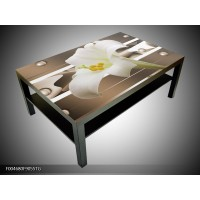 Salontafel  Glas 118x78cm bloem TAFEL IS WIT met prachting bloem erop