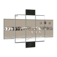 Glas schilderij Art | Grijs, Wit, Zwart | 100x70cm 5Luik
