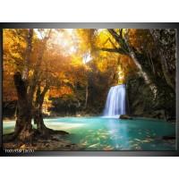 Foto canvas schilderij Waterval | Blauw, Geel, Grijs