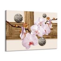 Canvas schilderij Orchidee | Roze, Grijs, Bruin | 100x70cm 1Luik