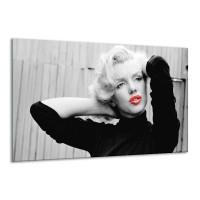 Canvas Schilderij Marilyn Monroe | Zwart, Wit, Rood | 120x70cm 1Luik
