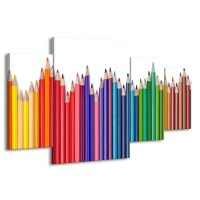 Canvas Schilderij Kleurpotloden | Wit, Rood, Blauw | 160x90cm 4Luik
