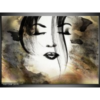 Canvas Schilderij Vrouw, Gezicht | Zwart, Wit, Bruin
