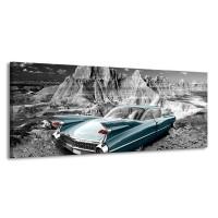 Canvas Schilderij Oldtimer, Auto | Grijs, Groen, Blauw | 145x58cm 1Luik