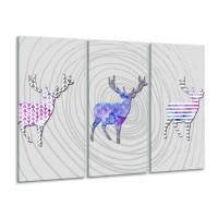Canvas Schilderij Hert, Modern | Grijs, Paars, Roze | 120x80cm 3Luik