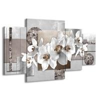 Canvas Schilderij Orchidee, Bloemen | Grijs, Wit | 160x90cm 4Luik