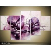 Acryl Schilderij Orchidee | Paars, Crème | 100x60cm 5Luik Handgeschilderd