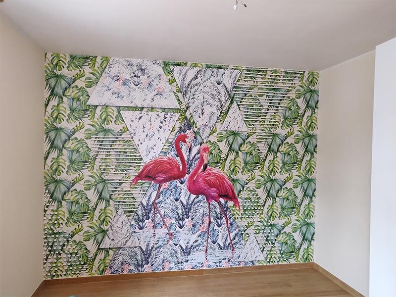 Fotobehang flamingo GroepArt