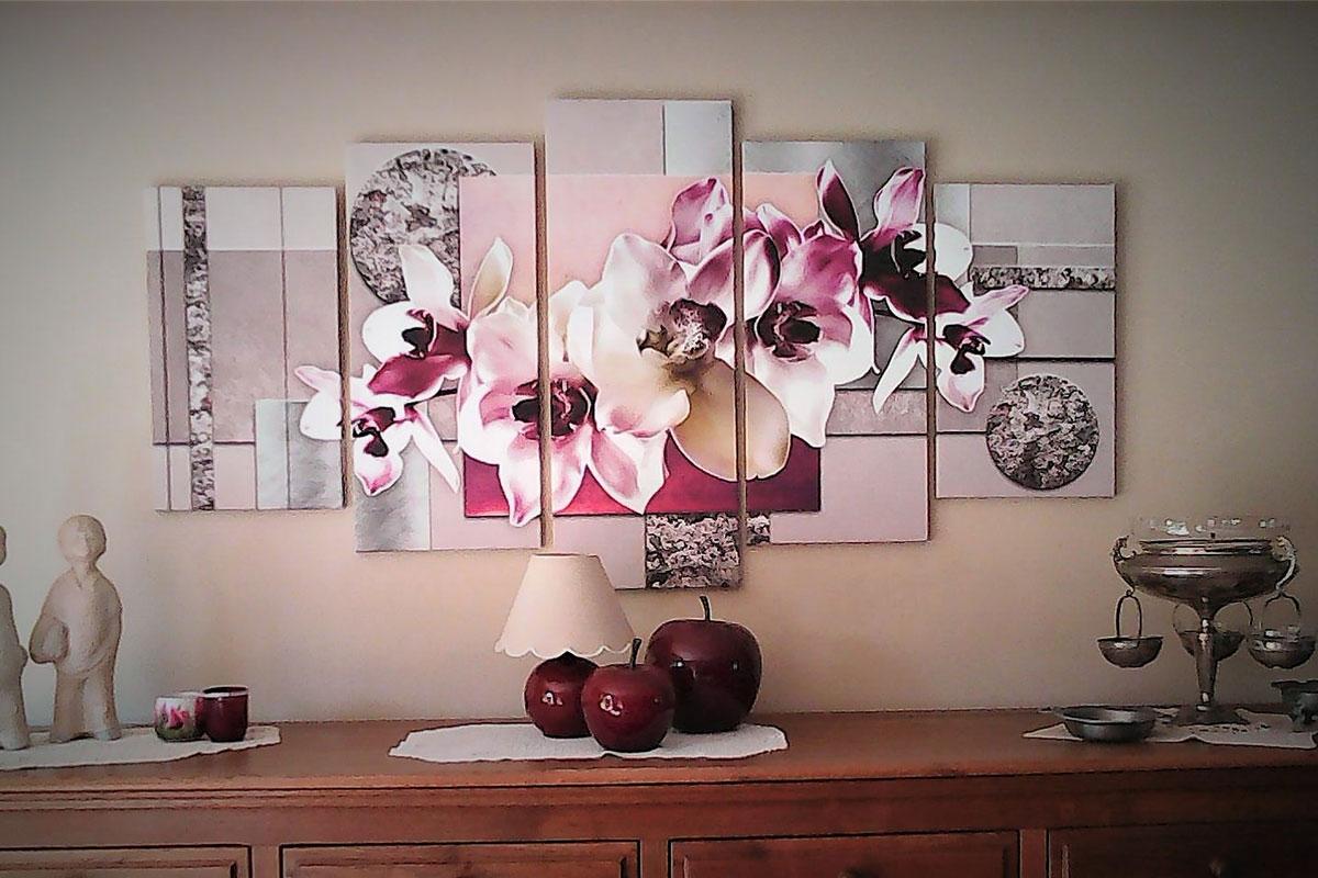5 luik canvas schilderij bloem schilderijenart.nl