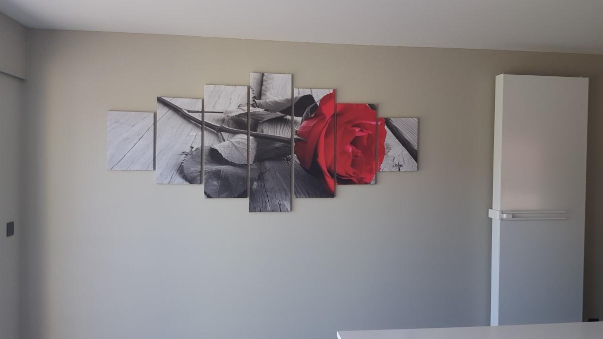 Canvas schilderij 7 luik Roos SchilderijenArt.nl
